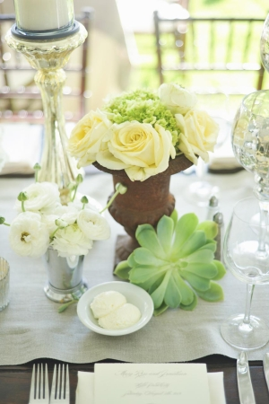 White Rose and Succulent Reception Arrangements