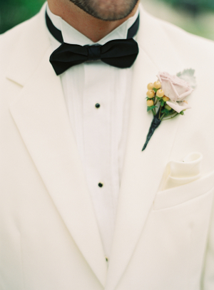 White Tux With Black Bow Tie