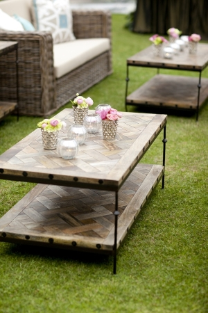 Wood Coffee Tables in Reception Lounge Area