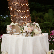 Bride and Groom Table in Garden
