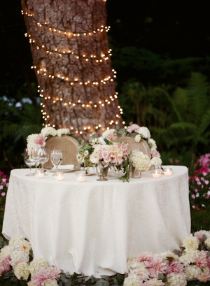 Bride and Groom Table in Garden
