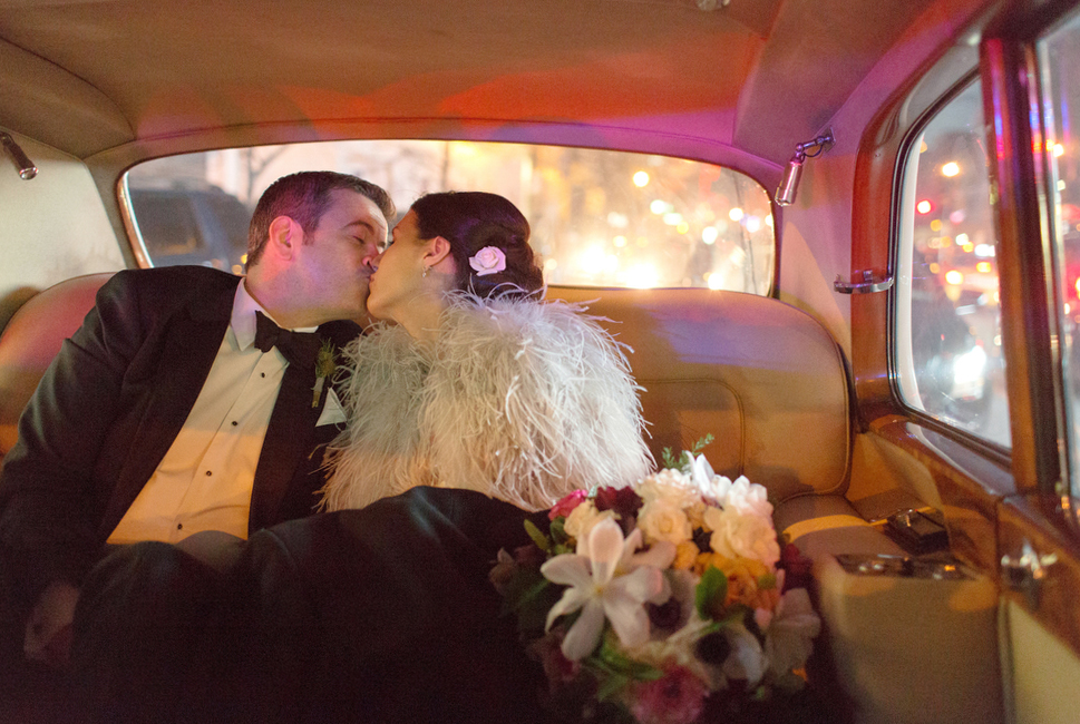 Bride and Groom in Vintage Limo