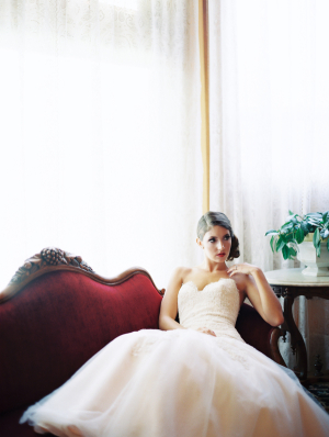 Bride on Vintage Velvet Couch
