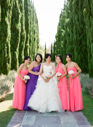 Bright Pink and Purple Bridesmaids Dresses