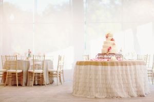 Burlap and Cream Ruffle Table Skirt