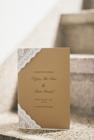 Casual Brown Wedding Invitation With Lace Edges