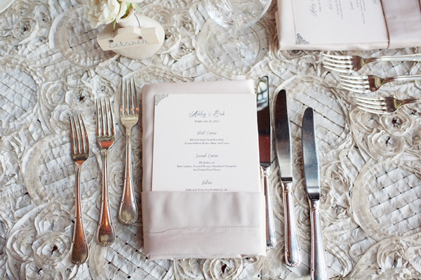 Classic Silver and White Reception Table Decor
