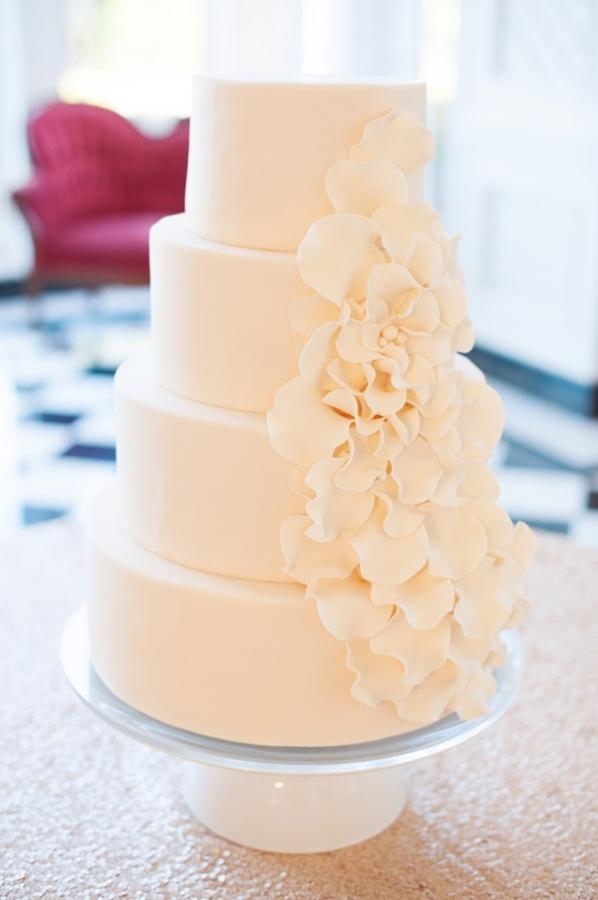classic wedding cake with cascading sugar flowers
