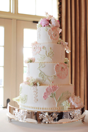 Classic Wedding Cake With Pink and Green Icing Flowers