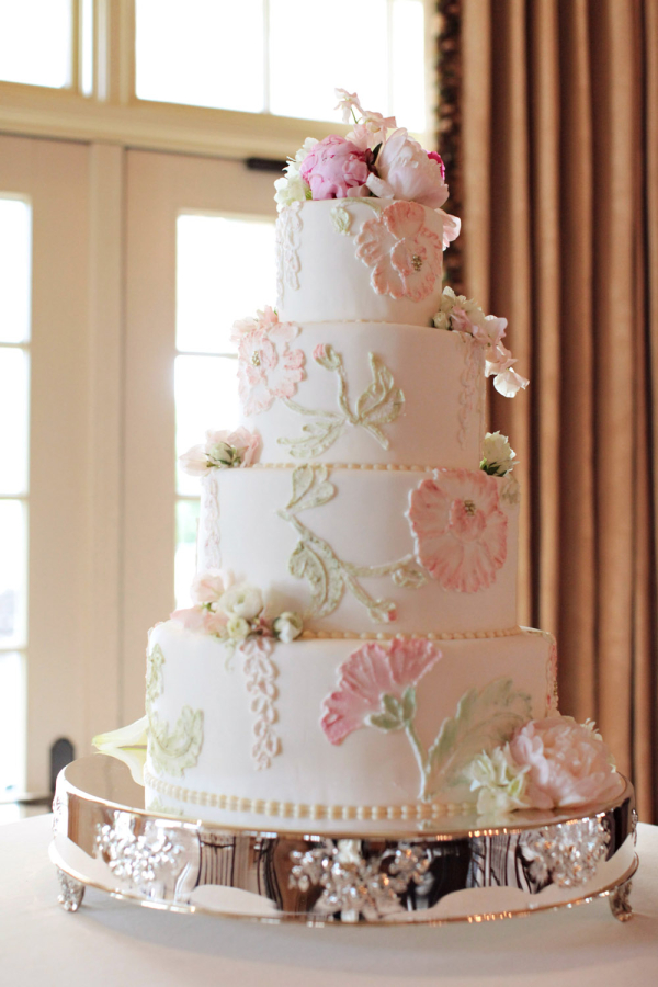 Classic Wedding Cake With Pink and Green Icing Flowers - Elizabeth ...