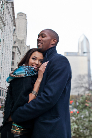 Couple Hugging in Downtown Chicago