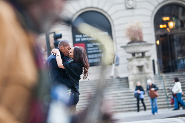 Couple Kissing in Chicago