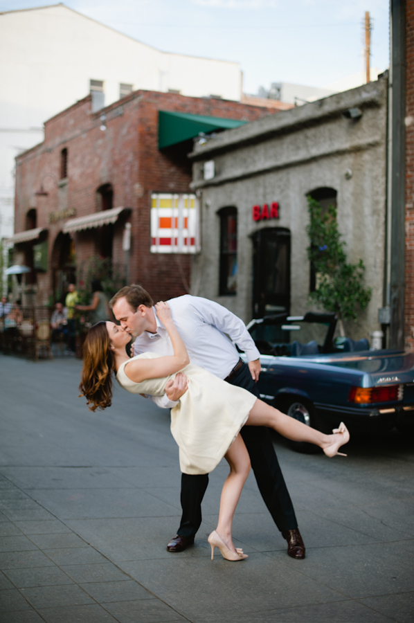 Couple Kissing on Downtown Street