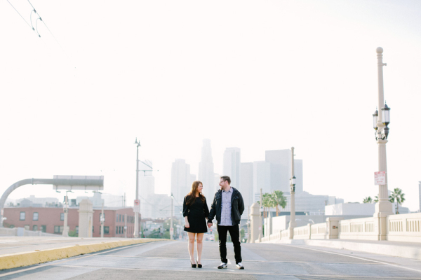 Couple Walking in Downtown Los Angeles