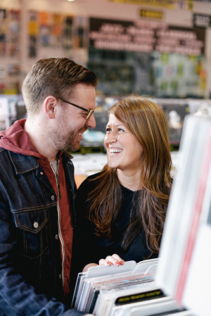 Couple in LA Music Store Engagement Session