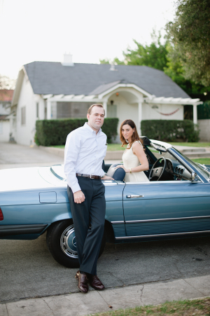 Couple in Vintage Blue Mercedes Convertible