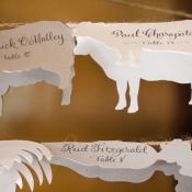 Cow and Chicken Cutouts Reception Place Cards