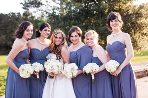 Dusty Blue Strapless Bridesmaids Dresses