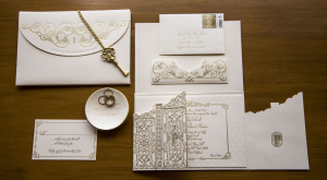 Elaborate Gold and Cream Wedding Stationery