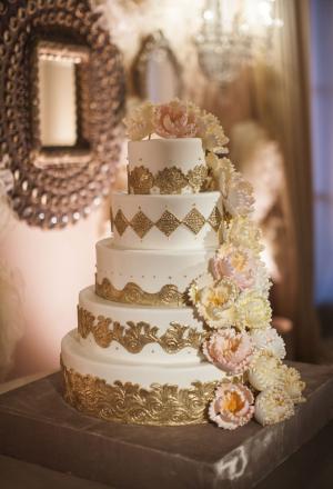 Elegant Gold Wedding Cake With Sugar Flowers
