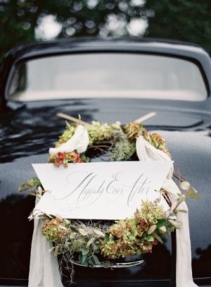 Elegant Wedding Getaway Car Wreath