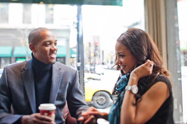 Engaged Couple in Coffee Shop