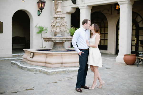 Engagement Portrait in Front of Fountain Hazelnut Photography