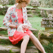 Floral Jacket and Coral Dress by Ruche