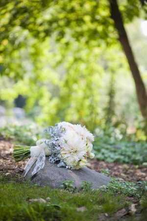 Floral and Dusty Miller Bouquet With Lace Wrap