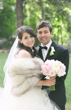 Fur Wrap Over Wedding Gown