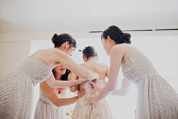 Geometric Print Cream Bridesmaids Dresses