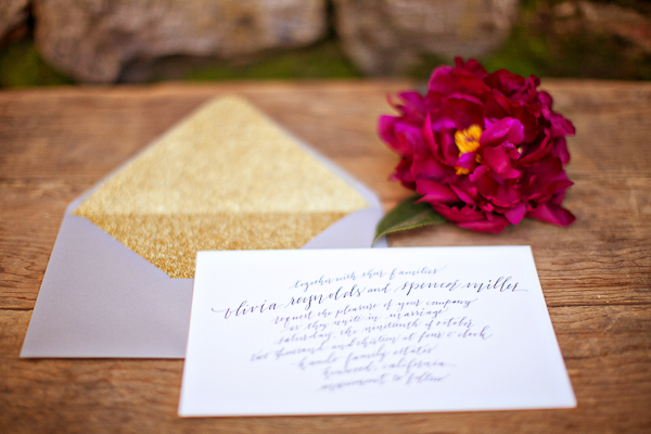 Gold Glitter and Calligraphy Wedding Invitation
