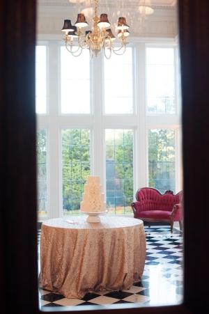 Gold Sequin Table Linens Reception Decor