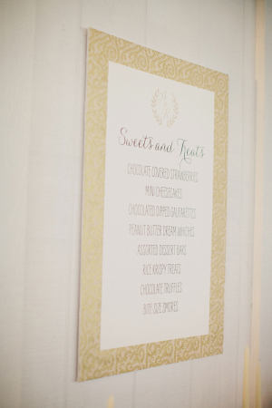 Gold and Ivory Sweets Menu
