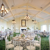Gray and Cream Floral Reception Tablecloths