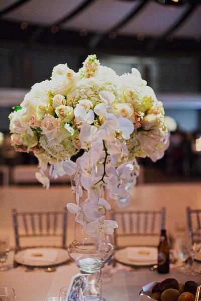 Hydrangea Rose And Orchid Centerpiece Elizabeth Anne