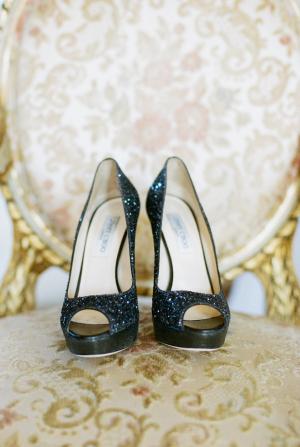 Jimmy Choo Black Glitter Heels