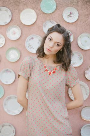 Khaki Shift Dress With Red Polka Dots