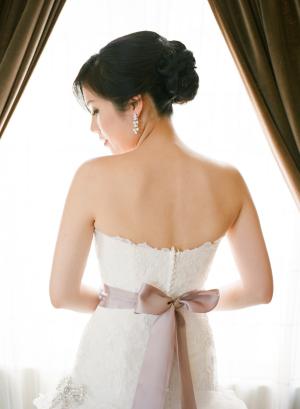 Lavender Ribbon Sash on Wedding Gown
