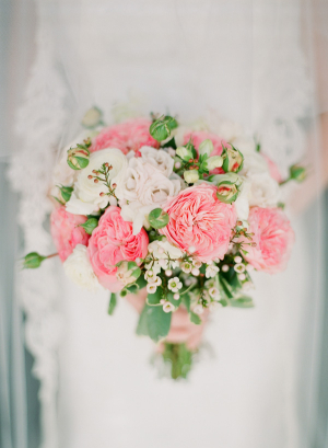 Light Pink White and Green Bridal Bouquet