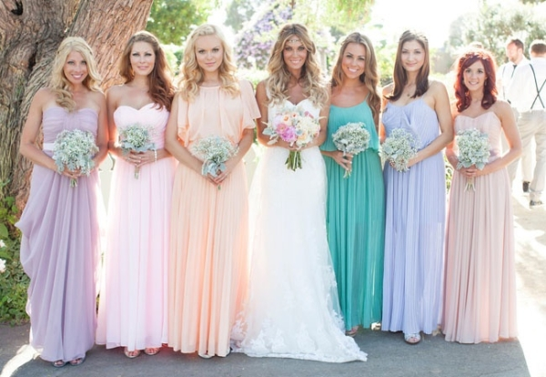 Long Chiffon Pastel Bridesmaids Dresses