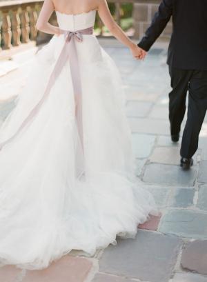 Mauve Sash Bridal Gown