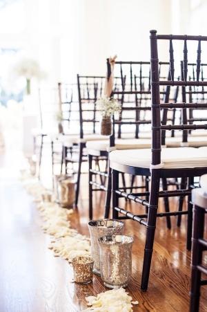 Mercury Glass Vases and Flower Petals Aisle Decor