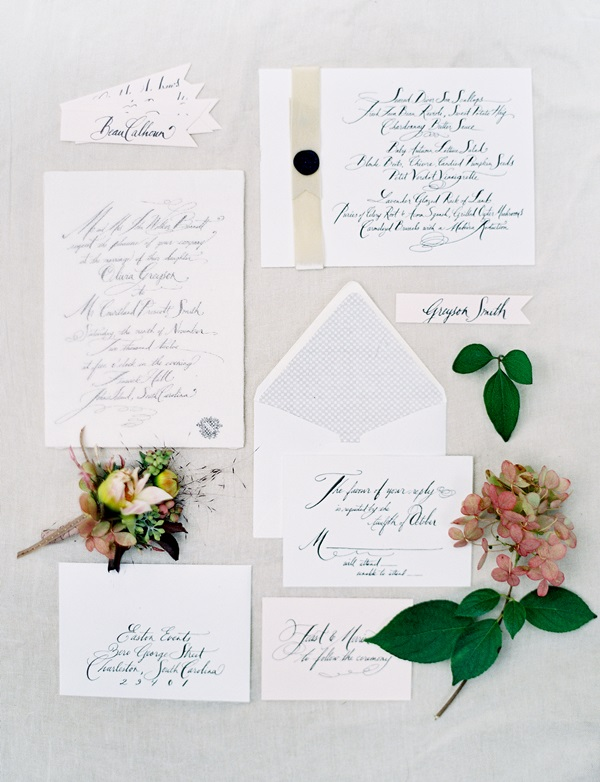 Menu On Silver Charger; Modern Calligraphy Wedding Invitations ...
