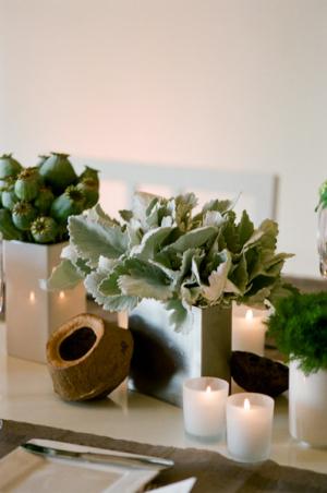 Modern Green Silver Wedding Centerpiece