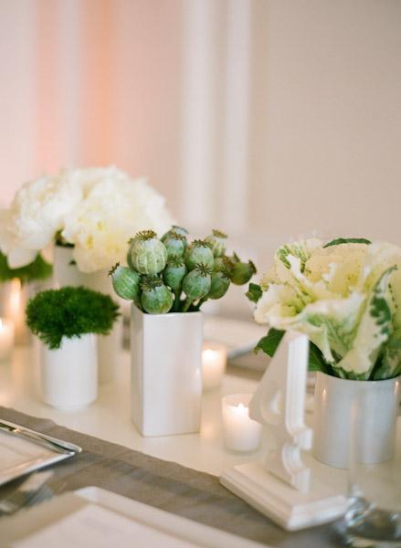 Modern green and white centerpiece elizabeth anne