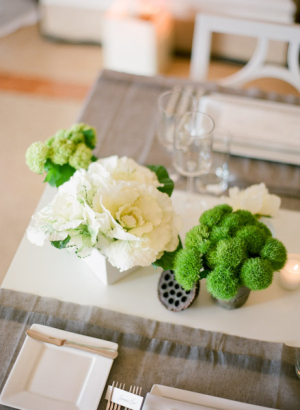Modern White and Green Reception Arrangements