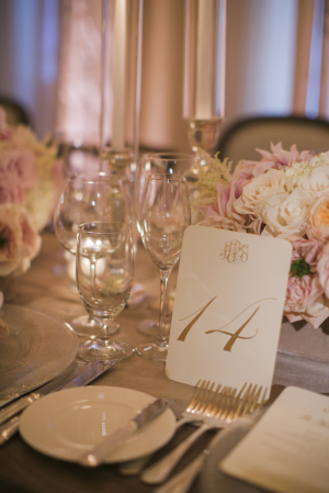 Monogrammed Gold Reception Table Numbers