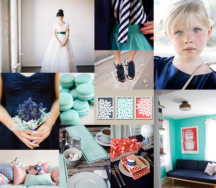 Coral Navy Aqua Wedding Colors