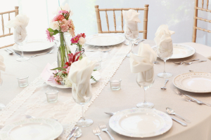 Neutral Reception Table With Lace and Spring Flowers
